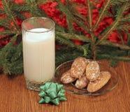 Молоко и gingerbread для Санта Стоковая Фотография RF