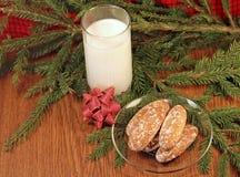 Молоко и gingerbread для Санта Стоковая Фотография