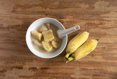 молоко кокоса банана Традиционный десерт Таиланда стоковые фото