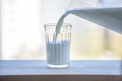 Молоко полито от кувшина в стекло swallowtail лета травы дня бабочки солнечное Стоковые Фото
