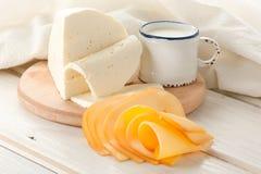 молоко сыра завтрака Стоковая Фотография