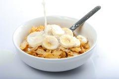 молоко хлопий для завтрака Стоковые Изображения