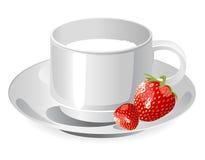 молоко чашки srtawberry Бесплатная Иллюстрация