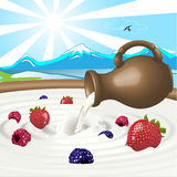 молоко ягод Стоковое Фото