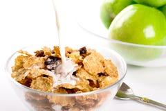 молоко cornflakes яблок зеленое Стоковое Изображение RF