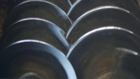 Молоть рапса в продукции с валами металла, конец-вверх, медленн-mo сток-видео
