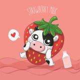 Молочная корова молока клубники очень милая иллюстрация вектора