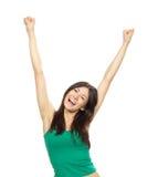 Молодая милая женщина вручает вверх по поднятым рукояткам Стоковая Фотография