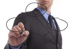 Молодая диаграмма чертежа бизнесмена Стоковая Фотография RF