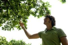 Молодой человек выбирая энергосберегающее Стоковое Изображение