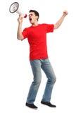 Молодой человек с мегафоном Стоковые Фото