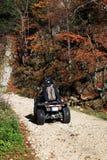 Молодые люди имея потеху с мотоциклом ATV Стоковая Фотография