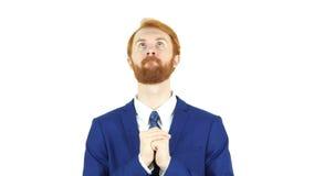 Моля красный бизнесмен бороды волос, доверие в боге стоковое изображение