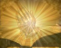 Моля руки на открытой освещенной библии Стоковые Изображения RF