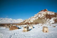 Монастырь в зиме, Leh-Ladakh Thiksey, Индия Стоковая Фотография RF