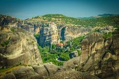 Монастырь Rousanou, Kalabaka монастырей Meteora святой, Греция стоковые изображения rf