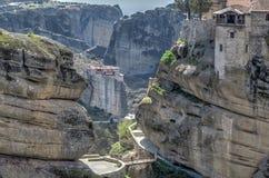 Монастырь Roussanou и Varlaam Стоковые Изображения