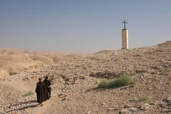 Монахи в пустыне Иудеи стоковое изображение rf