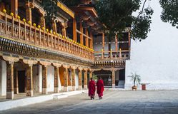 Монахи на Punakha Dzong, Бутане стоковые фотографии rf