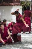 Монах Œa ¼ ï практики буддийских монахов дебатируя хлопает, радикальный дебатировать, Тибет стоковые фотографии rf