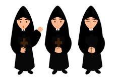 Монах - иллюстрация священника a простая - монах поет, молит и благословляет иллюстрация вектора