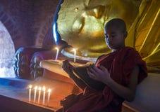 Монах послушника в bagan Мьянме Стоковые Изображения RF