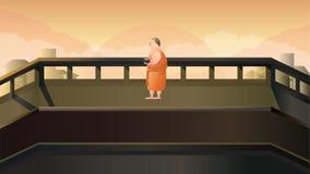 Монах для того чтобы получить еду в утре Стоковая Фотография