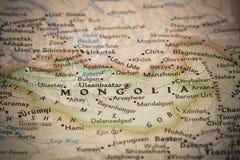 Монголия на карте Стоковая Фотография