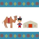 Монгольский мальчик в национальном костюме, верблюде Архитектура жилищ Монголии традиционных, как yurt и шатер покрыто иллюстрация вектора