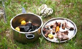 Монгольская традиционная еда в национальном парке Gorkhi-Terelj на Ulaanbaatar, Монголии Стоковая Фотография RF