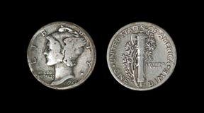 Монета в 10 центов 1927 Меркурия антиквариата Стоковое фото RF