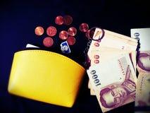 Монетка бата Таиланда бумажника денег Стоковое фото RF