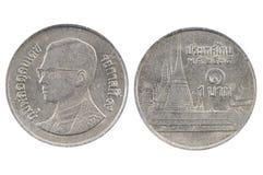 Монетка 1 бат Таиланд Стоковое фото RF