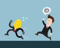 Монетка бежит далеко от бизнесмена которое пробует уловить его иллюстрация вектора