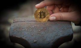 Монетка бита в недостатке стоковая фотография rf