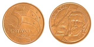 Монетка 5 бразильская реальная сентав Стоковые Фото
