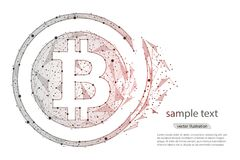 Монетка валюты Bitcoin абстрактного сброса давления дизайна цифровая изолированный от низкого поли wireframe на белой предпосылке Стоковая Фотография