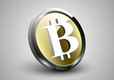 монетка влияния золота 3d bitcoin с концепцией символа Стоковые Изображения RF