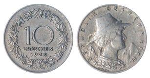 10 монетка гроша 1929 изолированная на белой предпосылке, Австрии Стоковое Изображение RF
