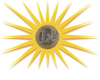 Монетка евро вписанная в солнце Стоковые Изображения RF