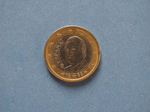 1 монетка евро, Европейский союз, Испания над синью Стоковое Изображение