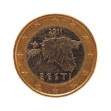 1 монетка евро, Европейский союз, Эстония изолировала над белизной Стоковая Фотография RF
