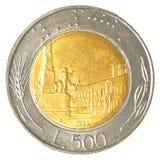 монетка итальянской лиры 500 Стоковая Фотография