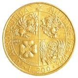 монетка итальянской лиры 200 Стоковые Изображения