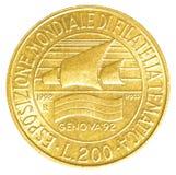 монетка итальянской лиры 200 Стоковые Фото