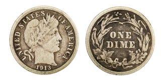 Монетка монета в 10 центов парикмахера свободы Стоковое Изображение