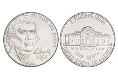 Монетка никеля 5 центов Стоковое Фото