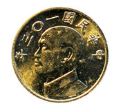 Монетка 5 долларов Тайваня Портрет президента Chiang Kai-shek стоковые фотографии rf
