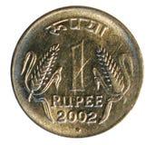 монетка одна рупия Банк Индии стоковые фото