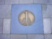 Монетка одного цента в выстилке Стоковые Фотографии RF